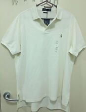 Men Cotton Polo Shirt RALPH LAUREN Small Pony Cream - Size XL - RRP $99