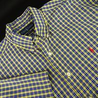 Mens Polo Ralph Lauren Blake Yellow Plaid Oxford Golf Dress Shirt Size Large L
