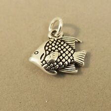 .925 Sterling Silver 3-D TROPICAL FISH CHARM NEW Ocean Parrot Pendant 925 NT91