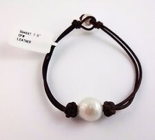 Brown Leather Bracelet With Cultured Fresh Water Pearls 7.5 Inches