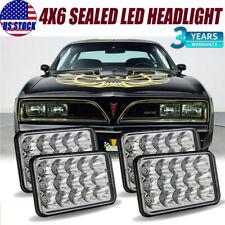 "4pcs 4x6"" Cree Led Headlights Hi/Lo Beam For 1977-81 Pontiac Firebird H4656/4651"