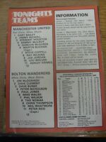 27/02/1980 Manchester United v Bolton Wanderers [Programme Dated: 01/01/1980, Wi