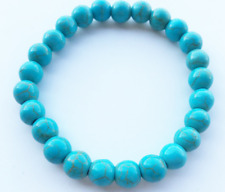 "Turquoise Blue Healing Stretch Bracelet dyed Stone 8mm Beads Reiki 7.5"" Long"