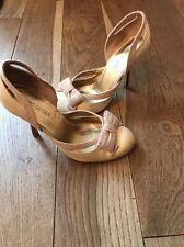 Kurt Geiger Gold Fabric Bow Fronted Court Shoes Size 4 Euro 37