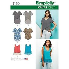 SIMPLICITY SEWING PATTERN MISSES' KNIT TOPS SIZES XXS - XXL   1160
