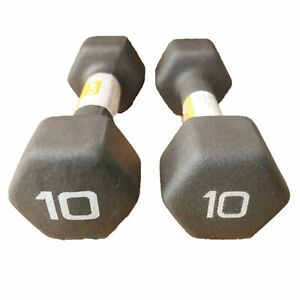 CAP 10 lb Pair Neoprene Hex Dumbbell Set 20 lbs Total Hand Free Weights Non Slip