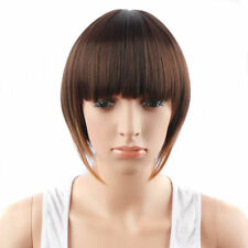 Synthetic Short Hair Wig Brown Full Wig with Straight Bangs Women Fashion Wig*