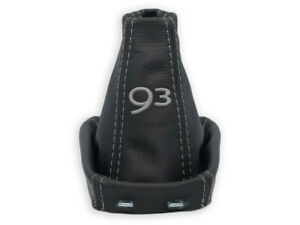 FOR SAAB 93 9-3 02-16 GEAR SHIFT BOOT GAITER GENUINE LEATHER EMBROIDERY GRAY