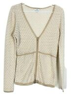 Cache Women's Silk Blend Zip Up Sweater Cardigan siz M V-neck Tan Beige Knit CMK