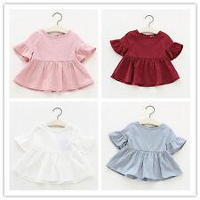 Newborn Toddler Baby Kids Girls Flare Sleeve Tops T-shirt Blouse Tee Mini Dress Red 24 Months