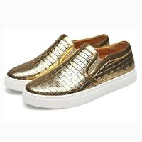 Fashion Mens Slip On Loafers Comfort Casual Round Toe PU Leather Sneakers Shoes