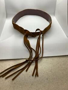 BOHO HIPPY CHIC Brown Leather & Suede Tassel Womens Belt