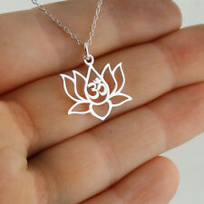 Lotus Flower Om Necklace - 925 Sterling Silver - Pendant Yoga Namaste Outline