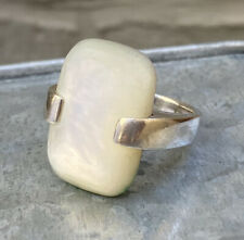 Vintage 925 Sterling Silver Large Decorative Ring - Pearl Colour -  Size N