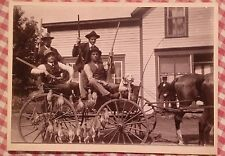 Antique early 1900s photograph men hunting Trip  rifles pheasants dog wagon