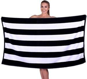 Premium Cabana Stripe Velour Beach Towel 100% Cotton 35 x 60 in XL Extra Large
