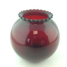 Anchor Hocking Glass Royal Red Colored Bowl Shaped Vase or Voltive Holder