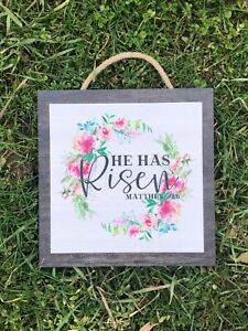 """He is Risen. Easter Wooden Wall Sign.  Handmade in Ohio.  8""""x8"""", P302"""