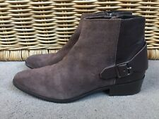 MANGO LADIES BROWN LEATHER SUEDE  BUCKLE ANKLE BOOTS