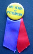 "Vintage 100 Years of PYTHIANISM PIN & Ribbon 1 1/4"" Diameter Knights of Pyhias"