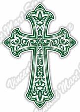 "Green Cross Celtic Irish Ireland Car Bumper Window Vinyl Sticker Decal 4""X5"""