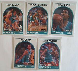 Basket-ball NBA Hoops 89/90 Lot de 5 cartes Charlotte Hornets Bougues / Curry