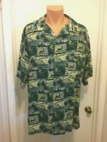 Island Blue Mens Hawaiian shirt Rayon 2XL Sailboat Fish Tropical Short Sleeve