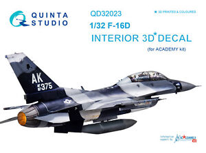 Quinta QD32023 1/32 F-16D 3D-Printed & coloured interior (for Academy kit)
