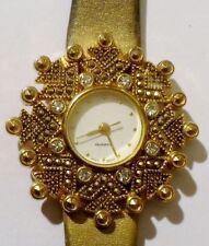 montre bijou couleur or bijou vintage cristal diamant bracelet cuir or * 4729