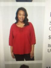 Catherines 4x Red Peasant Top Blouse Shirt NWT