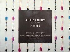 Artisan NY Follow Your Arrow Twin 3 PC Sheet Set   Extra Deep Blue, Pink,Red