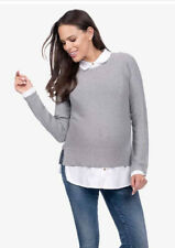 seraphine maternity Layered Nursing Jumper Marianne Gray And White Nwt Size M