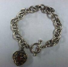 ".925 Slv Sterling Silver 14K Gold Heart Pink Stone charm Bracelet 7.5"" 27 grams"