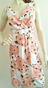 Together Cross Bust Faux Wrap Dress Pink/Black Sleeveless Side Zip Size 12/40
