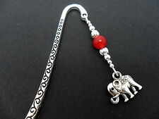 A TIBETAN SILVER   RED JADE BEAD  & ELEPHANT CHARM BOOKMARK. NEW.