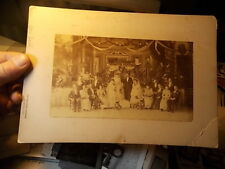 VICTORIAN CABINET PHOTO, WEDDING PARTY IN DECORATED HALL, ALAMEDA, CALIFORNIA