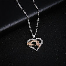 Family Gift Mom Hold Kid Children Hand Love Heart Pendant Chain Necklace Jewelry