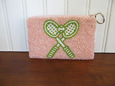 Moyna New York Light Pink Beaded Tennis Bag Change Purse Card Coin Pouch
