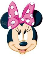 IRON ON TRANSFER CUTE MINNIE MOUSE FACE pink bow 12x15