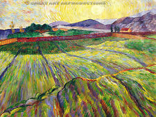 """Wheat Field with Rising Sun"",  Vincent van Gogh Reproduction in Oil, 54""x42"""