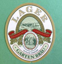 GARTEN BRAU LAGER beer label WI 12oz