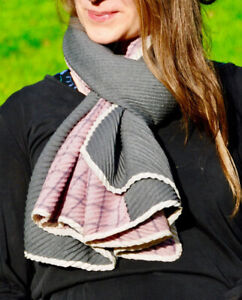 Square Print Pink Womens Pleated Fabric Fashion Scarf thick winter warm