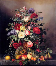 oil amalie kaercher still life with assorted flowers fruit and insects on ledge