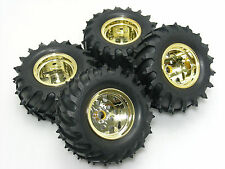 Tamiya 58618 Monster Beetle Complete Front Rear GOLD Wheel & Pin Spike Tire Set