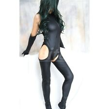 Women Sexy Wet Look Leather Catsuit Costume Jumpsuit Fancy Dress Bodysuit Outfit
