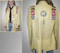 Men Cowhide Leather Jacket Native American Fringes Bead Work Western Wear-1980's