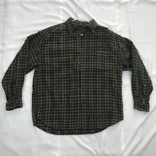 Vintage Structure 1990's Large Heavy Flannel Green Multi-Color Striped Shirt