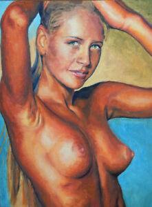 Oil on board Original Painting Nude Frau Akt girl