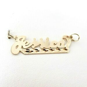 14K Gold Jessica Nameplate Personalized Charm Pendant