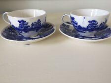 LOT 2 Vintage Nasco Hand Painted Blue Lakeview Japan Teacup / Saucers 4 PIECES